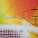 Pigmentdruck auf Leinen, Ausschnitt (A. Oehlen)