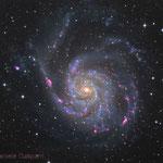 M101. Newton 25 cm f4.8, SBIG ST-10XME, HAlpha-RGB. Integration: 6.7 hours