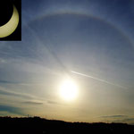 A partial solar eclipse and a solar halo