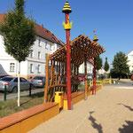 Magdeburg, Helmholtzstraße, Spielplatz, Erweiterung Sonneschutz, Baujahr 2017