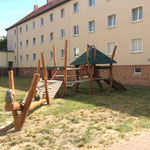 Magdeburg, Curiestraße 58 - 60, Spielplatz der Wohnanlage der WBG, Baujahr 2017