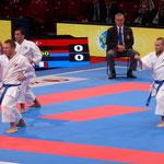 Notre équipe de France Kata masculin, Jonathan Maruani, Jonathan Plagnol et Romain Lacoste obtiennent la médaille de Bronze.
