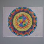 Daniela Neufeld - Buntstiftzeichnung Mandala Energie 40 x 30 cm