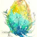 Daniela Neufeld - Farbmonotypie Verborgene Blicke 40 x 30 cm