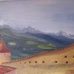 Daniela Neufeld - Schloß Goldrain - Blick zum Berg Laas 60 x 70 cm