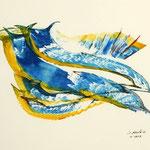Daniela Neufeld - Farbmonotypie Delphine 30 x 40 cm