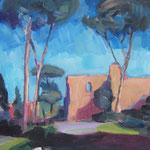 Rom/Caracalla Therme,  Öl/Holz, 50 x 50 cm