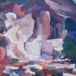 Marmorsteinbruch Carrara,  Öl/Lw, 50 x 50 cm