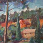 Landschaft bei Rousillion,  Öl/Lw, 70 x 50 cm