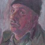 Oskar mit Haube,  Öl/Holz, 27 x 21 cm