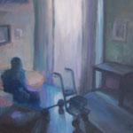 Warten - im Seniorenheim,  Öl/Holz, 40 x 50 cm
