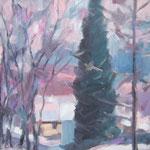 Blick aus meinem Atelier,  Öl/Lw, 40 x 40 cm