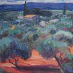 Olivenhain in der Provence,  Öl/Lw, 70 x 70 cm