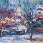 Ansicht auf St. Georgen/Gusen,  Öl/Lw, 40 x 50 cm