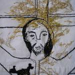 La discussion (Jésus et les anarchistes), broderie sur drap liturgique, détail