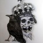 """""""Wappen"""" Schädel mit Rabe und Krone"""