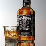 Whiskyflasche mit Glas