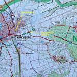 Kartenausschnitt um Kirchberg (aus Wandertafel)