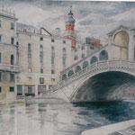 Rialtobrücke, Otto Eberhardt, 2002, Aquarell, Papier, fehltcm, ID1516