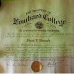 Lombard College diploma