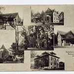 postcard showing various campus buildings
