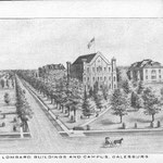 drawing of the campus and buildings