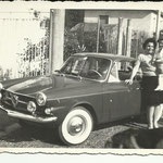 1962 - Madre e bimbo con auto - mother and baby with car