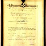 Titolo di Cavaliere della Repubblica emesso dal Presidente Cossiga - Title of Sir by the President Cossiga