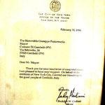 1994 - Lettera da parte del sindaco di NewYork, Rudolph Giuliani - Letter from Rudolph Giuliani, Mayor of NewYork