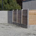 Mur de clôture béton et lame bois
