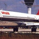 Die HB-INV in München/Courtesy: Swissair