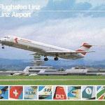 Postkarte des Flughafen Linz mit einer startenden MD-80.