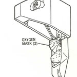 Sauerstoffmaske über der vorderen Flugbegleiterstation (Eingangsbereich)/Courtesy: McDonnell Douglas