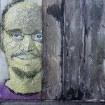 Der Zaungast; Selbstportrait; Mischtechik und Holz