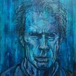 Clint Eastwood; Mischtechnik, acryl und Kreide; 40 x 50 cm