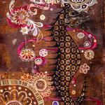 ●スパイス 273×190mm  日本画:紙本着彩、銀箔、金属泥、植物染料(コチニール、紅花)