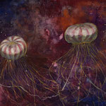 海月の糸伝話 158x233mm 日本画:紙本着彩、銀箔(ピンク)、金属泥