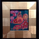 ●「金魚の夢」60X60mm 日本画:紙本着彩、アルミニウム箔、金属泥、コチニール