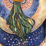 「月が綺麗ですね」M3 日本画:紙本着彩、アルミニウム箔、銅粉、星の砂