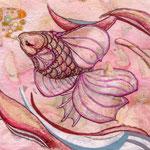 「恋の色」 90X125mm 日本画:手漉き桜紙、岩絵具、サンゴ粉、金属泥