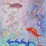 「桜の頃に」 190X150mm 日本画:紙本着彩、手漉き桜紙、金属泥、珊瑚粉