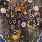 星を救う少年 170X120mm 日本画:布紙本着彩、銀箔、金属泥