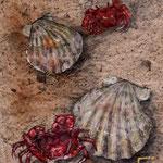 心の殻 90x120mm 日本画:手漉き三椏紙、岩絵具、水干、金属泥