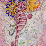 「胸に咲くスイレンの花 -クロエ- 」 200X125mm 日本画:紙本着彩、藍紙、植物染料色素、金属泥、珊瑚粉