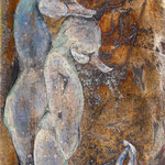 ●夢を見る 120X170mm 日本画:布紙本着彩、銀箔、金属泥