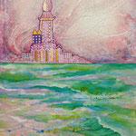 「バラ色の人生」M12号 日本画:布紙本着彩、純銀箔、銀箔(桃、紫)、水晶粉