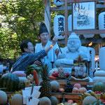 恵美須天にお孫さんと二人で棹を奉納