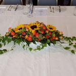 Tischdekoration für eine Taufe