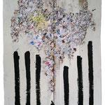 Ange ou démon - Collage et technique mixte - 2016 - 200x116cm