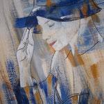 Frau mit Hut blau